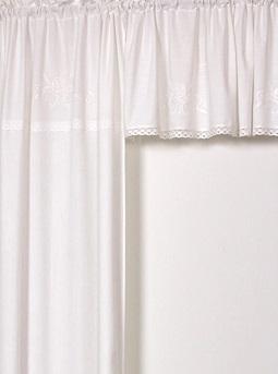 Kappa gardinkappa vit med vitt broderi spets shabby chic lantlig stil
