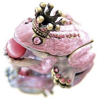 Smyckesbox rosa groda med krona