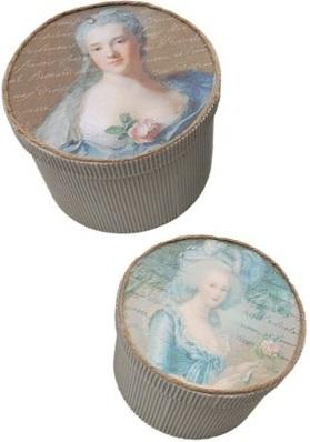Madam Pompadour ask i papp med rokokodam shabby chic lantlig stil