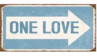 Metallskylt plåtskylt ONE LOVE magnet