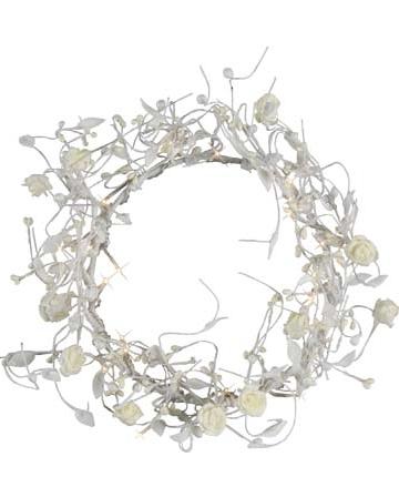 Roskrans vit med belysning shabby chic lantlig stil