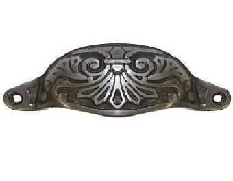 Skålhandtag mörk antiksilver antik stil ornament antikfärgat lantlig stil