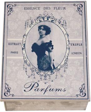 Stor fransk plåtask Parfums shabby chic lantlig stil fransk lantstil