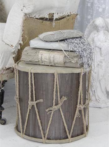 Trumma X-stor i trä antik stil shabby chic lantlig stil