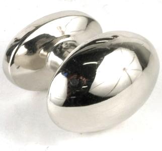 Oval knopp i silver blank krom shabby chic lantlig stil