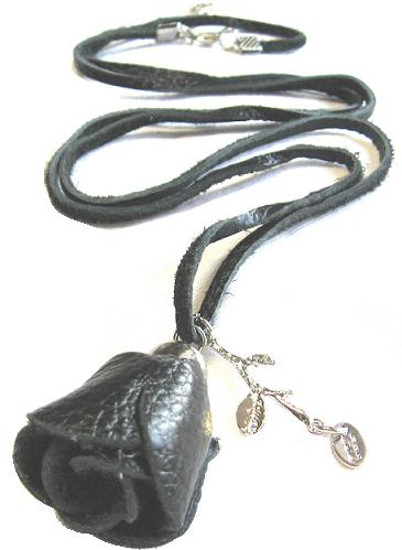 Halsband svart läder ros ziz design