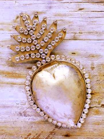 Franskt silverhjärta stort shabby chic fransk lantstil