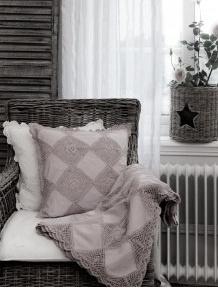Pläd Grandmother virkad linne-beige shabby chic lantlig stil