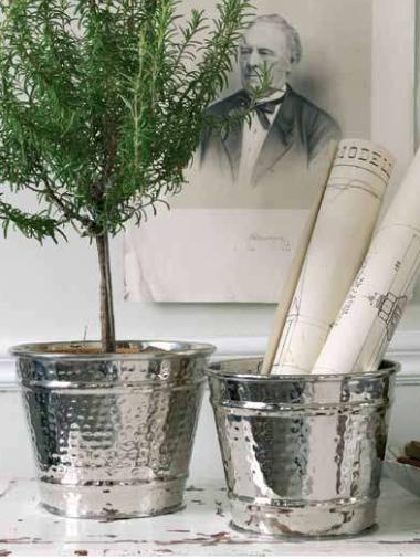 Krukor silver plåt hamrad olika storlekar industristil