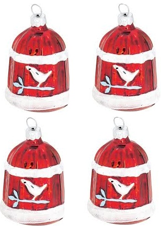 Greengate 4 set julkula i glas fågelbur