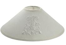 Lampskärm vid broderi monogram fransk lantstil shabby chic lantlig stil