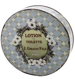 Fransk liten ljusblå plåtask lotion reklam blommig shabby chic lantlig stil