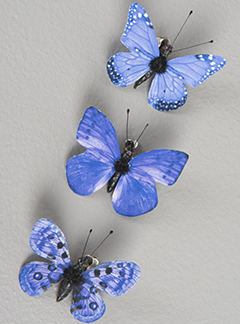 Fjäril på clip dekoration olika färger shabby chic lantlig stil