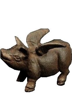 Änglagris gris med vingar i gjutjärn shabby chic lantlig stil