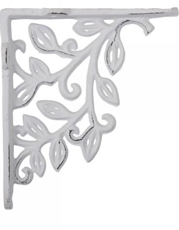 Antikvit vit konsoll hyllbärare gjutjärn snirklig löv shabby chic lantlig stil