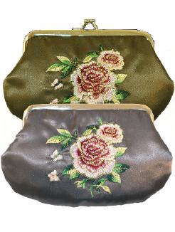 Sminkväska Portmonä Country Style ros satin romantisk Zink grå / Olivgrön shabby chic lantlig stil