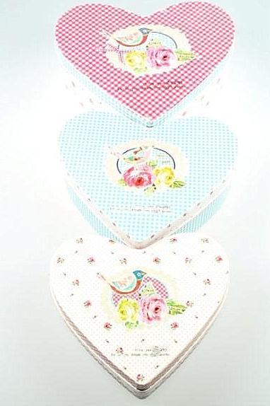Plåtburk Hjärta 3 storlekar rosa blå turkos röd rosor prickig shabby chic lantlig stil