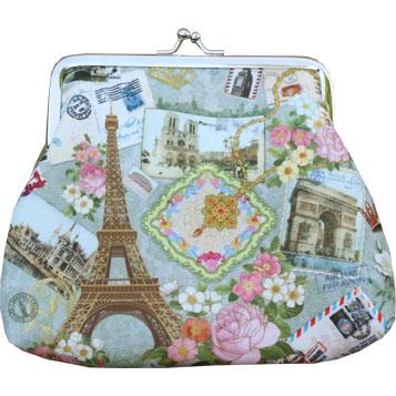 Börs turkos knäppe portmonnä sminkväska Paris rosor shabby chic lantlig stil
