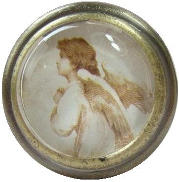 Knopp med ängel i glas och metall shabby chic lantlig stil