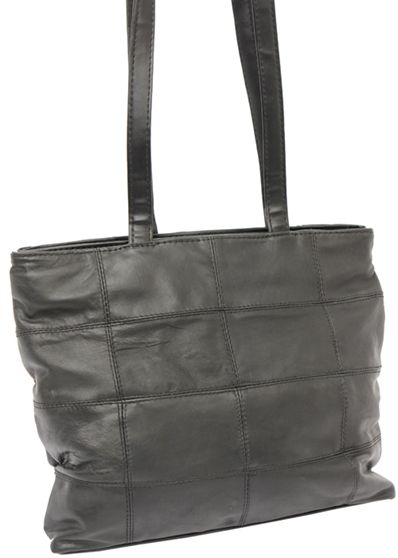 Black shopping bag leather