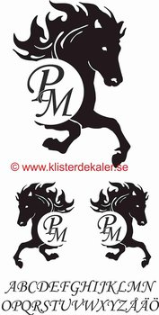 Häst + dina egna initialer.