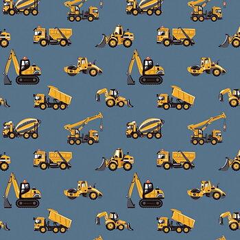 Små gula maskiner på blå botten