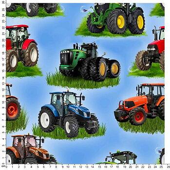 Traktorer på ljusblå bakgrund