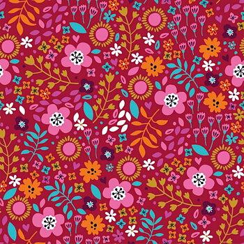 Blommor på röd botten