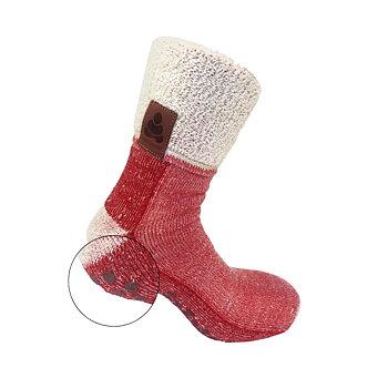Buddha Socks Villasukat liukuesteellä, punainen