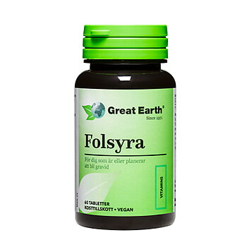 Folsyra, 400mcg, 60 tabletter vegan