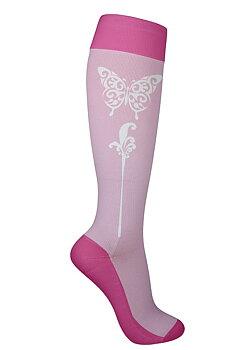 Stödstrumpor med fjäril, rosa
