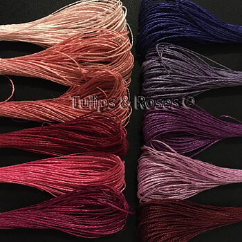 Linen hand sewing thread 16/2 Pink and purple hues