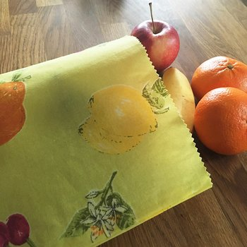 Beeswax Wraps Bag Retro Lime Yellow Large