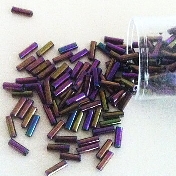 Bugle beads 7 mm lilac metallic Embroidery beads