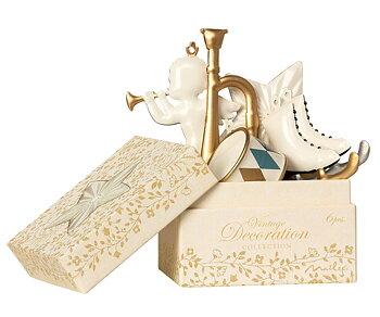 Ornament box, 6st julhänge i metall vit/guld, från Maileg