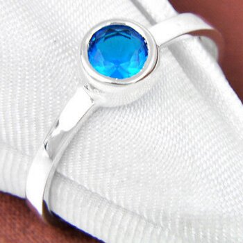Silver FILLED RING BLue Topaz