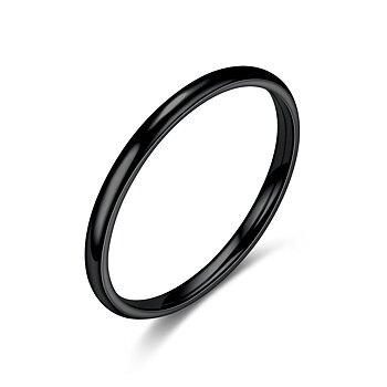 Rostfritt stål ring 2mm  SVART