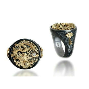 Gold Black Ring Gold Dragon With CZ Stone