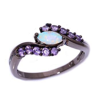 18K SVART Guld Filled gulddoublé Ring Regnbåge Opal