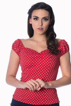 Banned Apparel - I Carried A Watermelon Red Polka Top