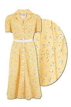 Rock N Romance - Charleen Yellow Abstract Heart Print Dress