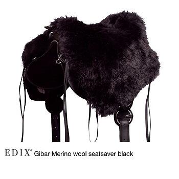 EDIX® Gibar Seatsaver / sadelsits (bomlösa sadlar), äkta Merinoull, svart