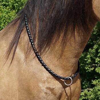 F.R.A® Cordeo/Halsring 'Kripton', Flätat läder, svart