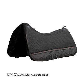 EDIX® Westernpad Premium, äkta Merinoull (inkl. 8 st ilägg), svart, L
