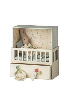 Maileg: Baby with room, Micro rabbit, Blue