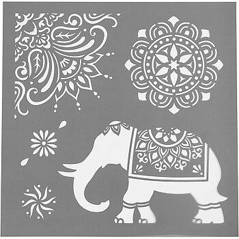 Schablon Elefant - etniska motiv