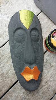 Skulptur easter Island Tiki stora läppar