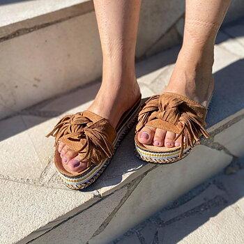 Sandal Med Fransar  Kamel FÖRBOKNING