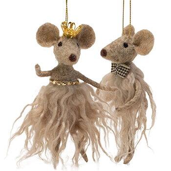 Juldekoration Beiga Möss med Krona och Fluga (Set om 2)