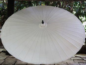 Parasoll diameter 200 cm Vitt i bambu